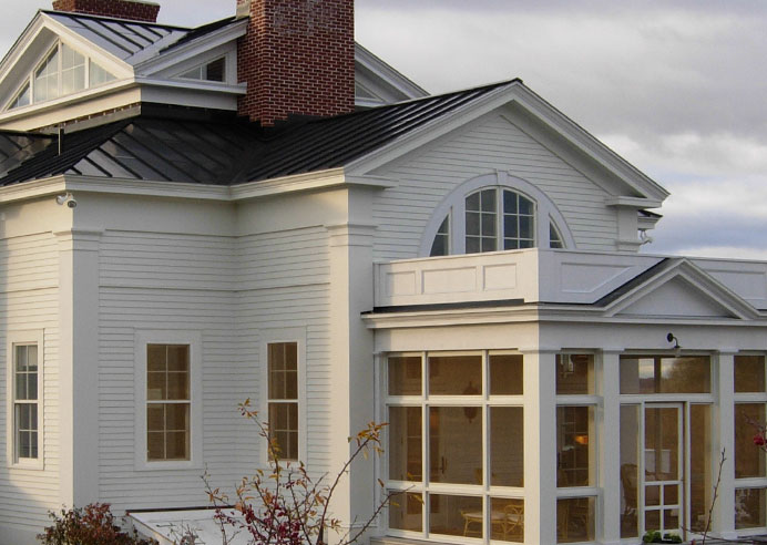 Kate Johns, AIA: Detail of exterior, rich in classical detailing.  Screen porch with beautiful views of the rural Hudson Valley and beyond.