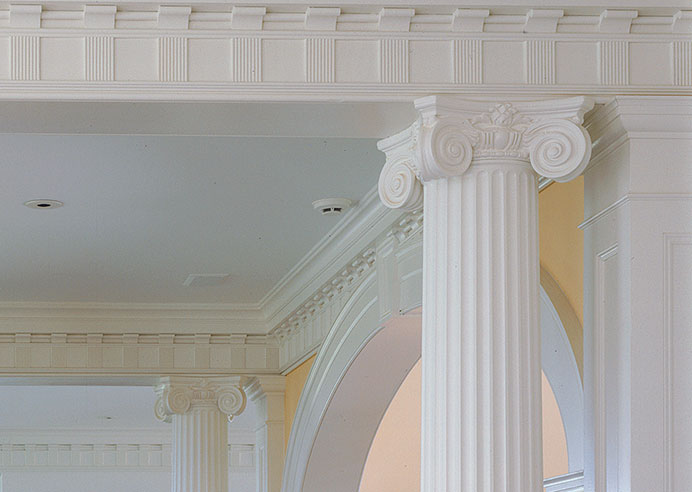 Additions, Renovations, Restorations: Classical details such as this ionic column and frieze <br>             form an integral part of the interior of this new Federal <br>             style residence.